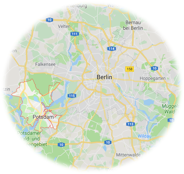Map highlighting Potsdam